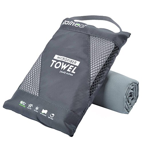 Smooth Towel - RainLeaf Microfiber Towel, 30 X 60 Inches. Gray.