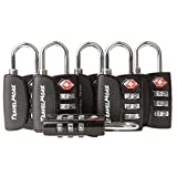 6 Pack Open Alert Indicator TSA Approved 3 Digit Luggage Locks for Travel Suitcase & Baggage (Black)