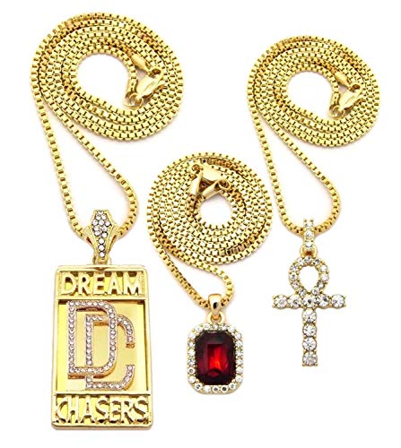 (Shiny Jewelers USA Mens Hip HOP ICED Out Dream Chasers RED Ruby Power Plug ANKH Cross Rope Box Chain Necklace Set of 3 (Dream Chasers/Red Ruby/Ankh))