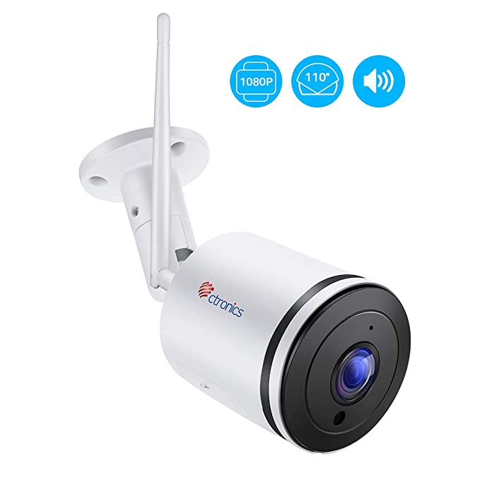 Ctronics Outdoor Securtiy Camera Wifi 1080P Home Surveillance IP Camera  with 110°Wide View Angle,Two-Way Audio,98ft IR Night Vision,Motion  Detection