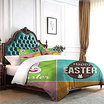 Image of dsdsgog Classic Bedding Set Easter,Bunnies Bike with Balloons 90x104 inch Wrinkle Fade and Stain Resistant Home and Kitchen