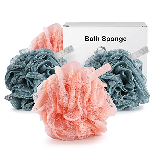 Bath Shower Sponge Loofah, Laxcare Mesh Pouf Shower Ball Body Scrubber Exfoliator, Pack of 4 best to buy
