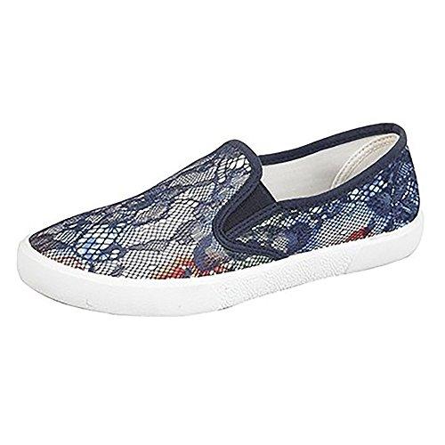 Dek - Zapatillas deportiva sin cordones con estampado floral para mujer Azul marino
