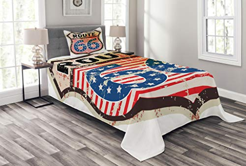 Trip American Road Traditional (Lunarable Route 66 Bedspread Set Twin Size, Retro Popular American Road Trip Sign Flag Stars National Journey Design, Decorative Quilted 2 Piece Coverlet Set Pillow Sham, Multicolor)