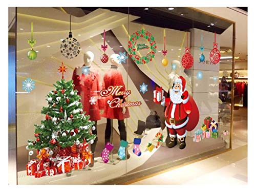 Yunqir Christmas Santa Window Wall Stickers Removable Wall Decals(Red) by Yunqir (Image #3)