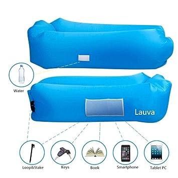 Lauva - Sofá hinchable de nailon (colchón, bolsa de dormir, tumbona, cama para playa, camping, picnic, viajes, parque piscina, se infla y mantiene el ...