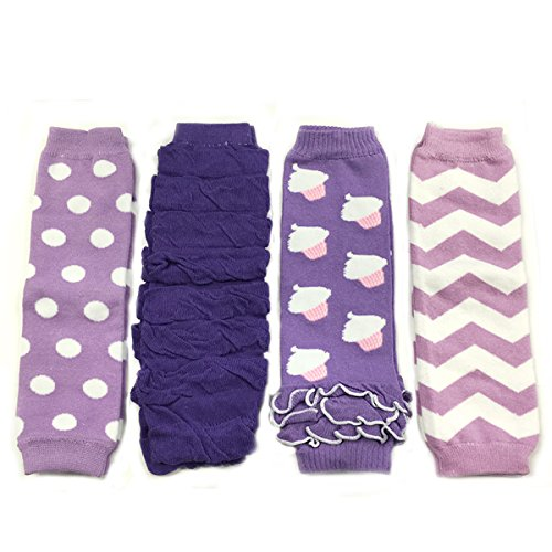 ALLYDREW 4 Pack Baby Leg Warmer Set & Toddler Leg Warmer Set for Boys & Girls - Lavendar, Ruched Purple, Cupcakes, Chevron