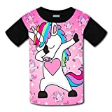Youth Casual DAB Dabbing Unicorn 3D Printed T-Shirts Short Sleeve Tops Tees For Boy's or Girl's XL