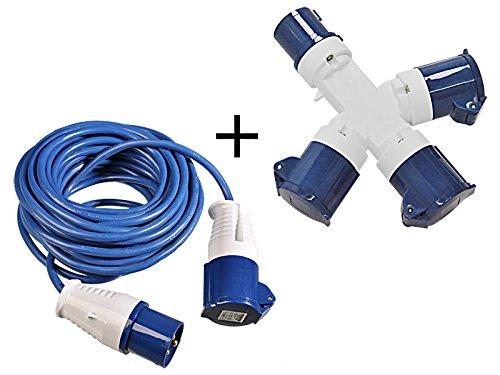 2 tlg Set 16A CEE 3-fach Stromverteiler 240V + 14m Stromkabel 3x1, 5mm² mit Spritzwasserschutz MS Warenvertrieb