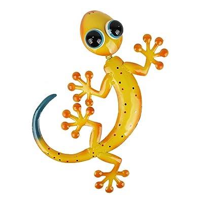 HONGLAND Metal Gecko Wall Decor Shaking Head Outdoor Yellow Lizard Sculpture Indoor Hanging Wall Art for Home Garden Yard: Everything Else