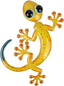 HONGLAND Metal Gecko Wall Decor Shaking Head Outdoor Yellow Lizard Sculpture Indoor Hanging Wall Art for Home Garden Yard