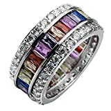 HERMOSA Morganite Topaz Garnet Amethyst Ruby Aquamarine Plated Silver Ring (8)