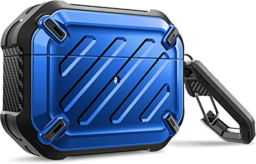 SupCase Unicorn Beetle Pro Series Case Designed for Airpods Pro, Full-Body Rugged Protective Case with Carabiner for Apple Airpods Pro (Blue)