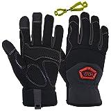 Handlandy Flex Grip Work Gloves Mens, Anti Vibration Impact Gloves- SBR Padded Palm, Improved Dexterity, Stretchable, Medium