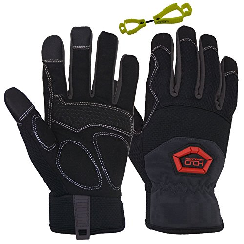 Handlandy Flex Grip Work Gloves Mens, Anti Vibration Impact Gloves- SBR Padded Palm, Improved Dexterity, Stretchable, Extra Large by HANDLANDY