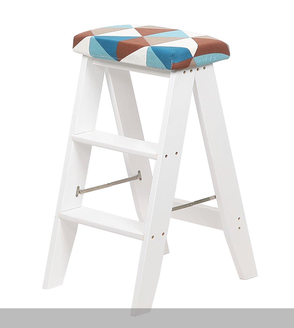 CAIJUN 折りたたみ椅子多目的キッチンポータブルソリッドスモールラダースツール3段シートカバー付き、3色 ステップ (色 : 白, サイズ さいず : 6#) B07DN38YJR 6#|白 白 6#