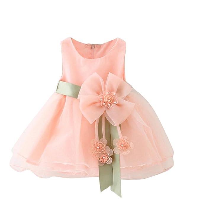 af488352b88 SMARTLADY Bebé Niñas Princesa Vestido Sin Mangas De Encaje Del Hilado   Amazon.es  Ropa y accesorios