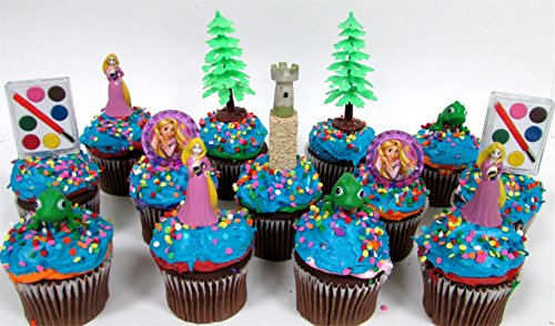 "Rapunzel Birthday CUPCAKE Topper Set Featuring Figures and Decorative Themed Accessories, Figures Average 2"" Tall"