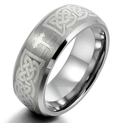 Epinki,Fashion Jewelry Men's Tungsten Rings Band Silver Irish Celtic Knot Cross Triquetra Vintage Brushed Size 9