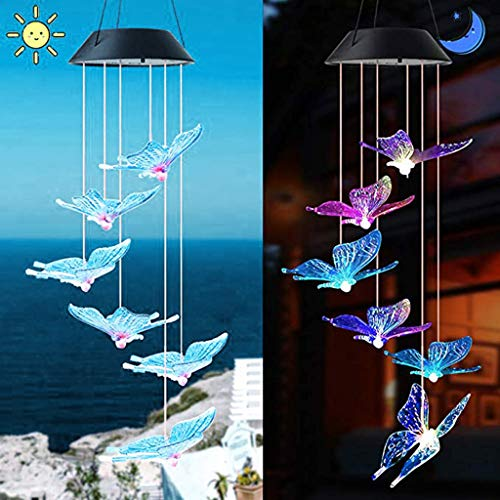 OutTop(TM) Solar Butterfly Wind Chimes Light Home Garden Hanging Lamp Decor Home Decoration for Weddings Garden Patio Decorative Decor - Lamp Butterfly Fairy