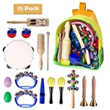 Toddler Musical Instruments, DUKWIN 15 Pieces Kids Percussion Drums Toys Rhythm Band Set,...