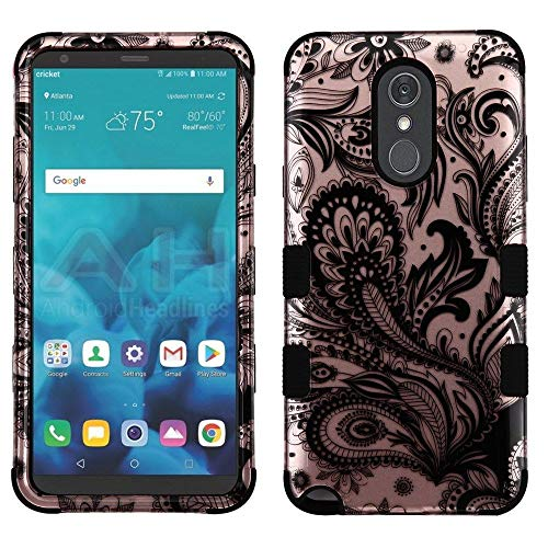 TUFF 2D Series Compatible with LG Stylo 4+ Plus, LG Stylo 4, Military Grade Drop Tested Hybrid Phone Case Protector Cover and Atom Cloth - Rose Gold Paisley Vines