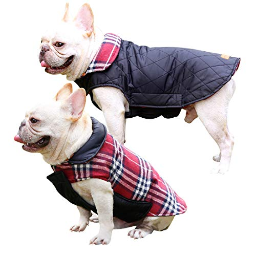 Dog Coats Pet Jacket Waterproof Reversible Dog Winter Coat Dog Clothes Doggie Vest Sweater for Small Medium Large Dogs with English Style (M Red) Review
