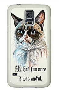 I Had Fun Once It Was Awful Cat White Hard Case Cover Skin For Samsung Galaxy S5 I9600