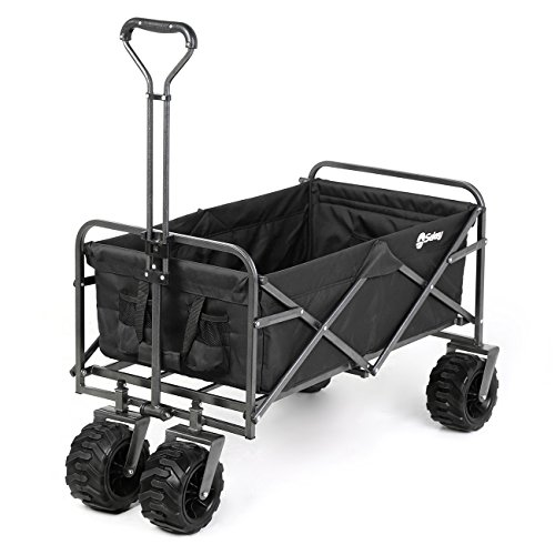 Sekey Folding Wagon Cart Collapsible Outdoor Utility Wagon Heavy Duty Beach Wagon with All-Terrain Wheels, 265 Pound Capacity, Black