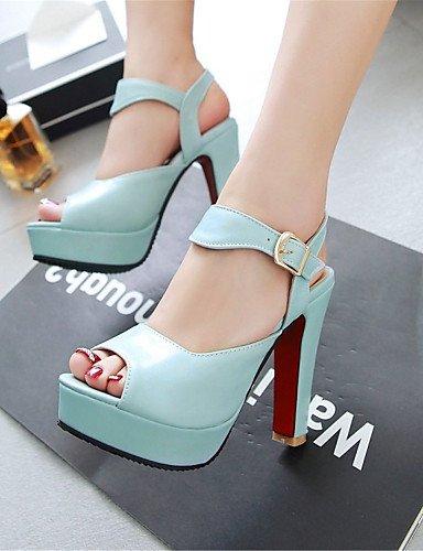 LFNLYX Zapatos de mujer-Tacón Robusto-Tacones / Punta Abierta-Sandalias-Boda / Vestido / Casual / Fiesta y Noche-Semicuero-Azul / Rosa / Blanco Blue