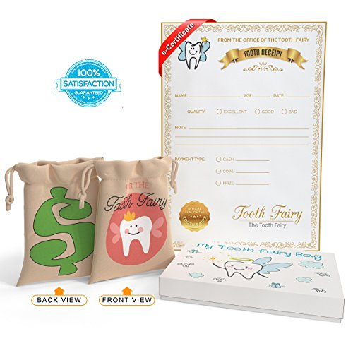 Tooth Fairy Bag Kit Leave Under Pillow for Boys and Girls – Pouch with Digital Letter Note – Keepsake Box Makes it a Great Gift Idea for ()