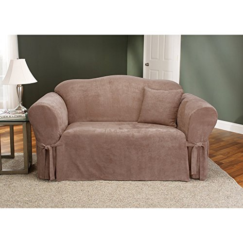 Sure Fit Soft Suede 1-Piece  - Loveseat Slipcover  - Sable (SF34543)
