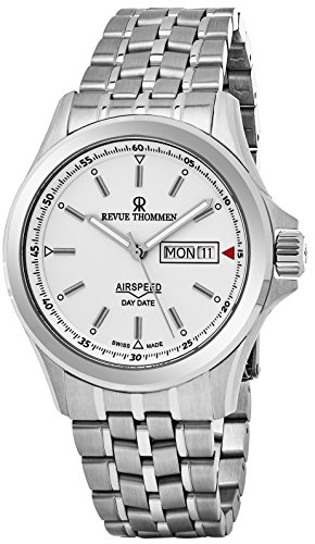 Revue Thommen Air Speed Pilot 42 MM Mens White Dial Stainless Steel Automatic Day Date Swiss Watch 16020.2132