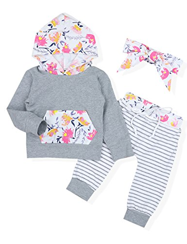 Baby Girl Outfits Florals Hoodie Top with Pocket Striped Lon