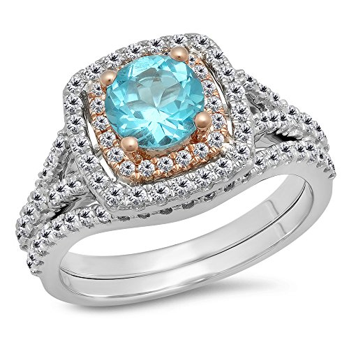 Two Tone Rose Gold Plated 14K White Gold Blue Topaz & White Diamond Halo Engagement Ring Set (Size 5)