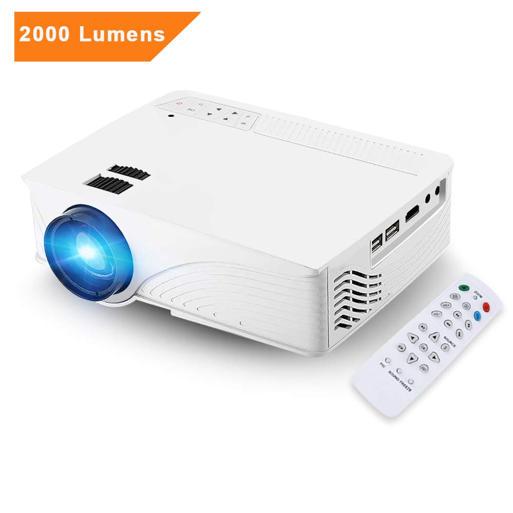 Mini Projector, [Upgrade] GBTIGER 2000 Lumens Portable Home LED Projector Support Full HD 1080P 800 x 480 Pixels Multimedia Home Theater Movie Game Video Projector VGA HDMI USB Port (White)