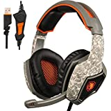GW SADES SA917 USB Stereo Gaming Headset, Wired Over-Ear PC Mac Headphones with EQ Mode Selection, Mic Revolution Volume Control LED Light(Army Green)