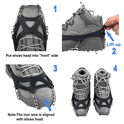 Fypo Ice Snow Traction Cleats Spikes for shoes, boots Trail Crampons chains Extendable Antiskid Grips for Winter Walking Fishing Hiking Jogging