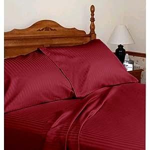 Acabado italiano algodón egipcio de 550hilos 6piezas Juego de sábanas (+ 15cm) bolsillo Extra profundo Euro pequeña sola, burdeos rojo rayas