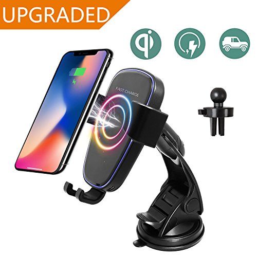 Qi Wireless Car Charger,Car Mount Gravity Linkage Air Vent Fast Charging for Samsung Galaxy Note 8/5,S8/S8 Plus,S7,S6 Edge+,IPhone 8/8 Plus, iPhone X Compatible All Enabled Devices By Zeekoo (Black) by Zeekoo