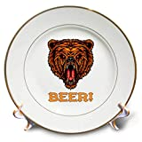 3dRose Alexis Design - Animals - Image of a Roaring Beer Head. Decorative Text Beer. for Beer Lovers - 8 inch Porcelain Plate (cp_295029_1)