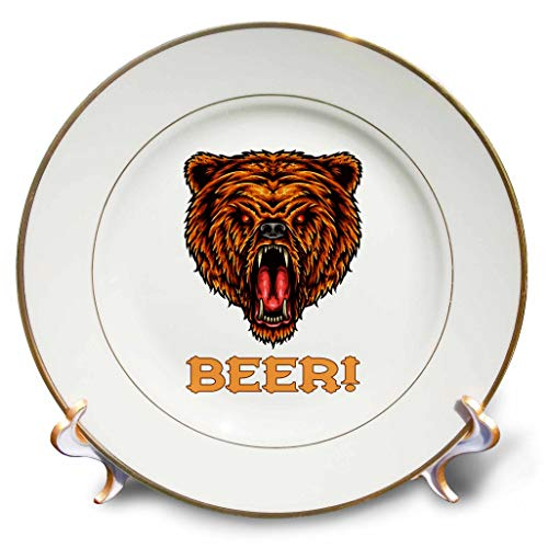 3dRose Alexis Design - Animals - Image of a Roaring Beer Head. Decorative Text Beer. for Beer Lovers - 8 inch Porcelain Plate (cp_295029_1) by 3dRose