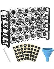 Spice Rack Organizer met 24 lege vierkante kruidenpotjes, kruidenetiketten met krijtmarker en trechterset voor werkblad, kast of wandhouder