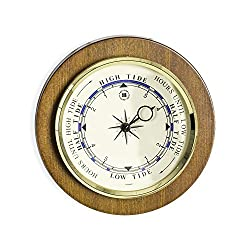 Time Factory AJ-WS077 Tide Clock on Cherry Wood with Brass Bezel, 9