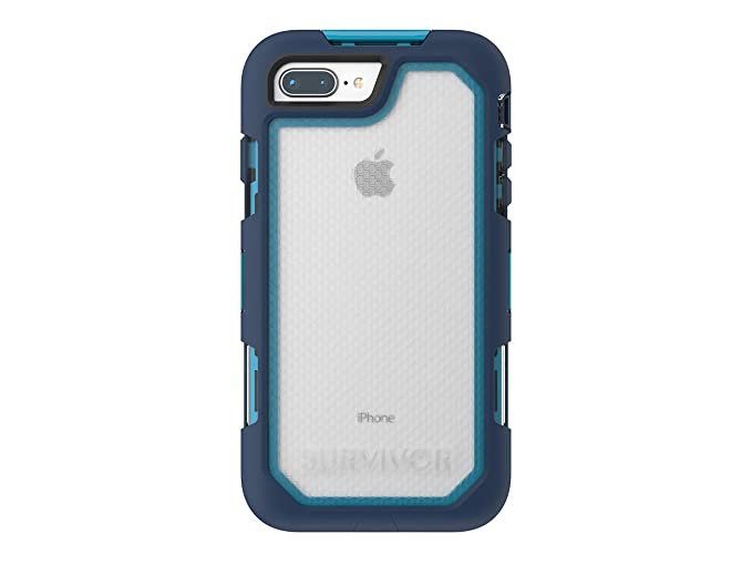 newest cc6f7 e4be1 Griffin Survivor Extreme iPhone 8 Plus Rugged Case - Impact Resistant Case  with Holster, Blue/Light Blue
