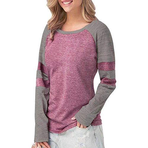 (❤️ Clearance Multi-Color Stitching Top Fashion Women Ladies Long Sleeve Splice Blouse Tops Clothes T Shirt Stitching Long Sleeve Duseedik)