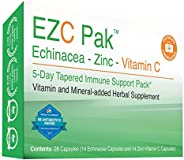 EZC Pak 5-Day Immune System Booster for Cold and Flu Relief (Single Pack) - Echinacea, Zinc, and Vitamin C, Ph