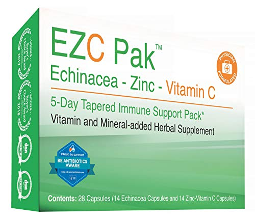 EZC Pak 5 Day Immune Support Boost for Cold and Flu - Echinacea, Zinc and Vitamin C, Physician Designed 5 Day Tapered Pack