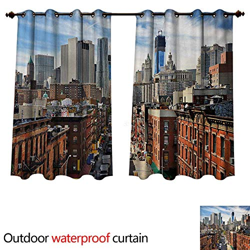 WilliamsDecor City Outdoor Balcony Privacy Curtain Lower Manhattan Cityscape Famous Travel Destination NYC Avenue Historical W72 x L63(183cm x 160cm) (Hotel Nyc With Balcony)