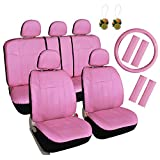 Leader Accessories Pink Car Seat Covers for Girls 17pcs Full Set - FREE Steering Wheel Cover and Air Fresheners